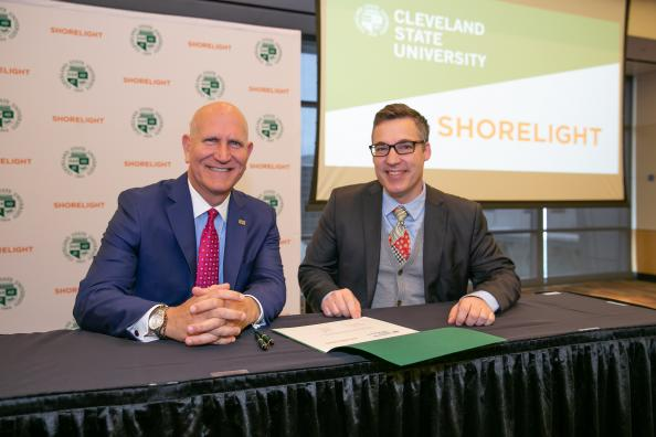 CSU President Harlan Sands and Shorelight Education EVP and Co-founder, Basil Cleveland